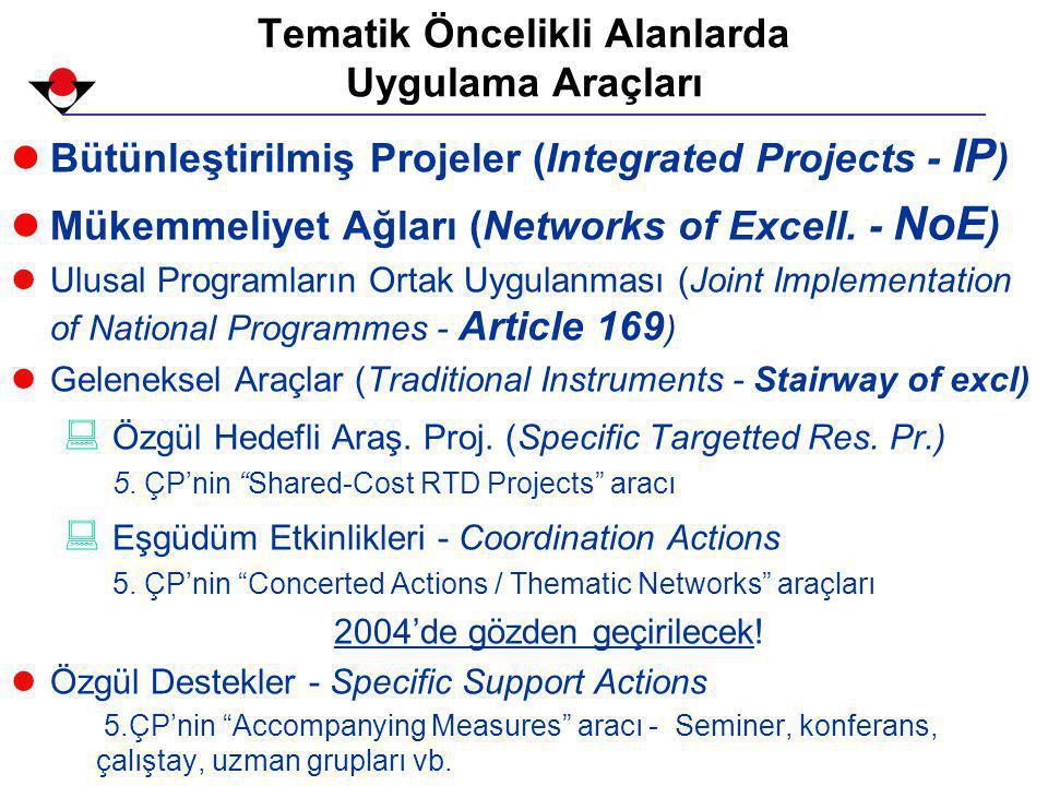 Tematik Öncelikli Alanlarda Uygulama Araçları lBütünleştirilmiş Projeler (Integrated Projects - IP ) lMükemmeliyet Ağları (Networks of Excell.