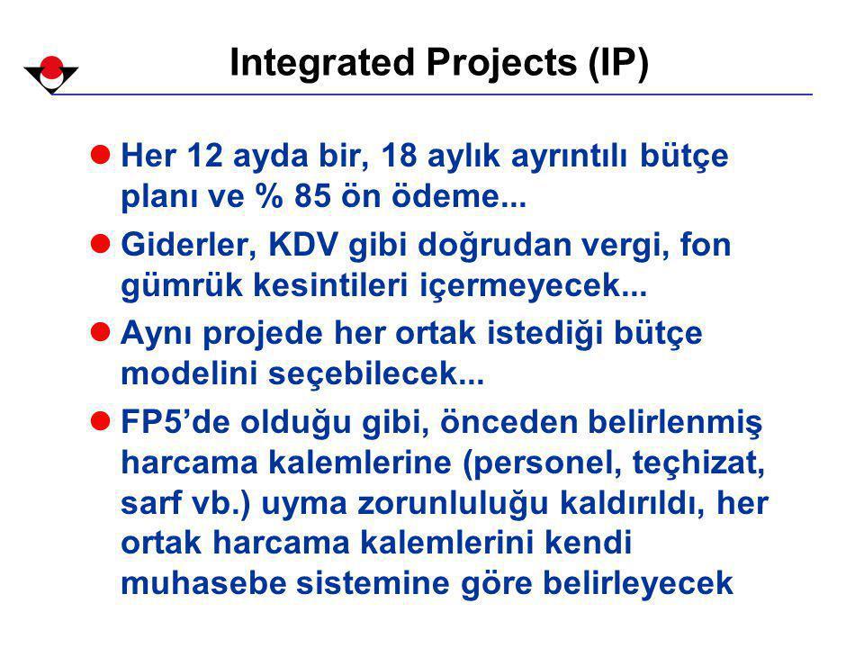Integrated Projects (IP) lHer 12 ayda bir, 18 aylık ayrıntılı bütçe planı ve % 85 ön ödeme...