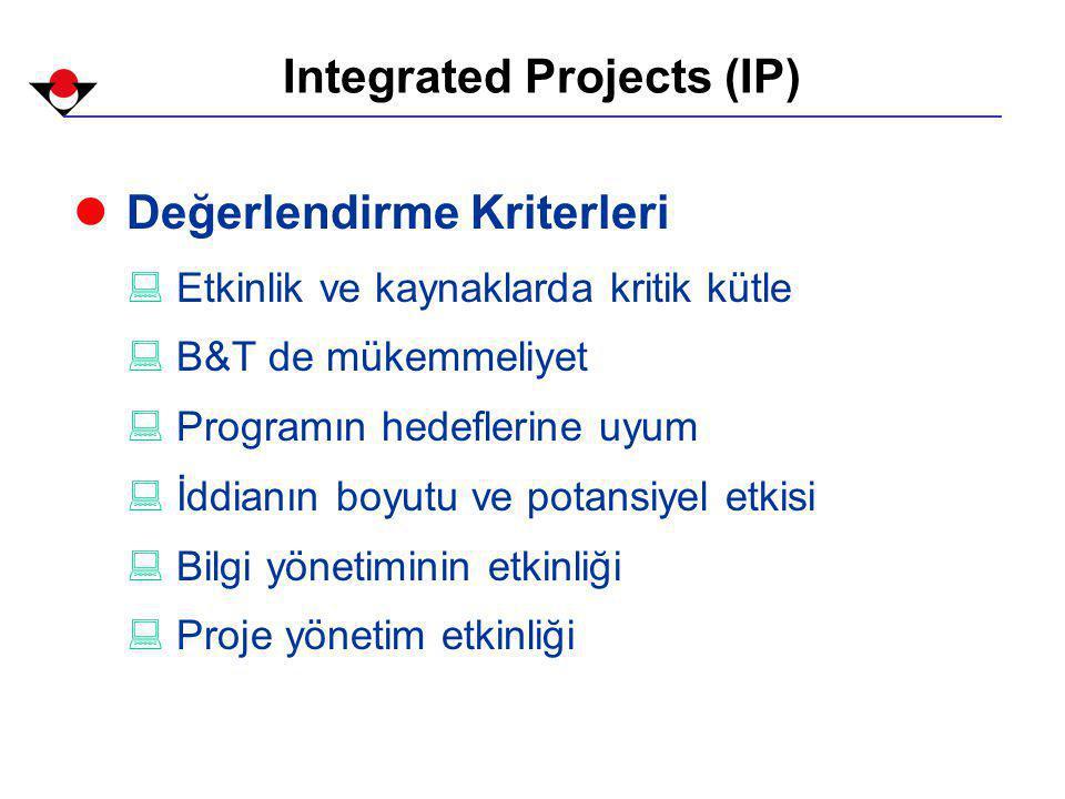 Integrated Projects (IP) l Değerlendirme Kriterleri : Etkinlik ve kaynaklarda kritik kütle : B&T de mükemmeliyet : Programın hedeflerine uyum : İddianın boyutu ve potansiyel etkisi : Bilgi yönetiminin etkinliği : Proje yönetim etkinliği