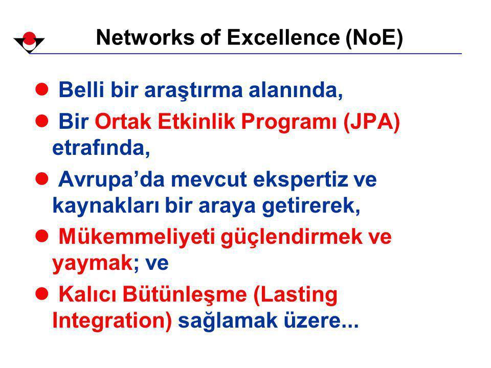 Networks of Excellence (NoE) l Belli bir araştırma alanında, l Bir Ortak Etkinlik Programı (JPA) etrafında, l Avrupa'da mevcut ekspertiz ve kaynakları bir araya getirerek, l Mükemmeliyeti güçlendirmek ve yaymak; ve l Kalıcı Bütünleşme (Lasting Integration) sağlamak üzere...