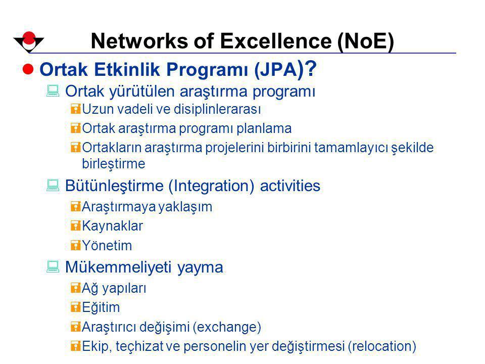 Networks of Excellence (NoE) lOrtak Etkinlik Programı (JPA ).