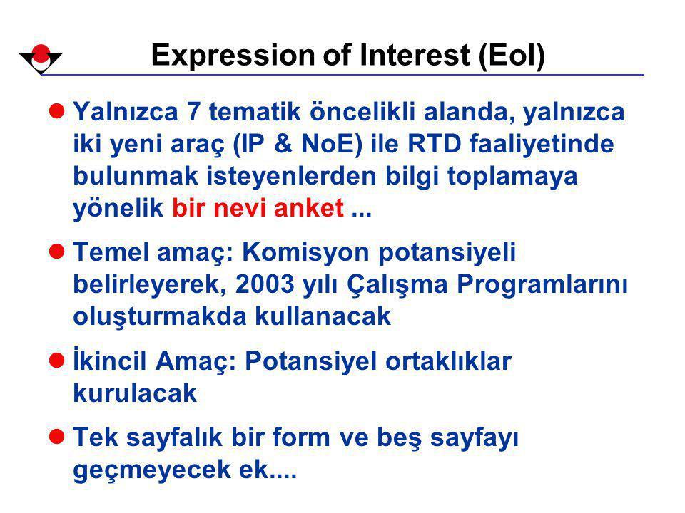 Expression of Interest (EoI) lYalnızca 7 tematik öncelikli alanda, yalnızca iki yeni araç (IP & NoE) ile RTD faaliyetinde bulunmak isteyenlerden bilgi toplamaya yönelik bir nevi anket...