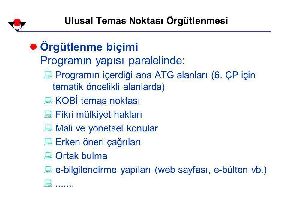 Ulusal Temas Noktası Örgütlenmesi lÖrgütlenme biçimi Programın yapısı paralelinde: : Programın içerdiği ana ATG alanları (6.