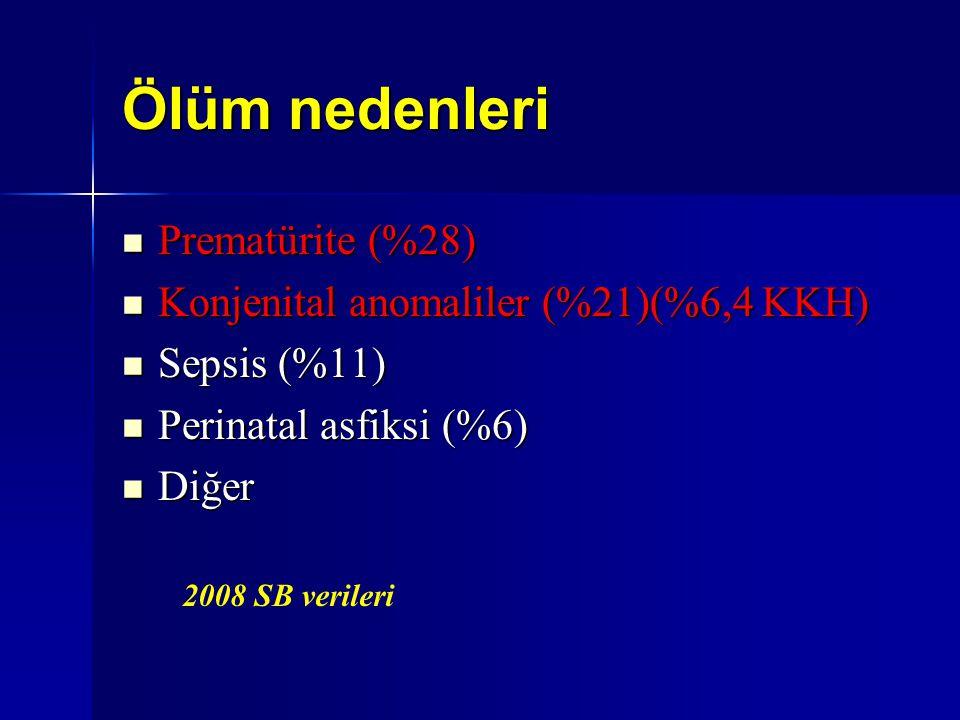 Ölüm nedenleri Prematürite (%28) Prematürite (%28) Konjenital anomaliler (%21)(%6,4 KKH) Konjenital anomaliler (%21)(%6,4 KKH) Sepsis (%11) Sepsis (%1