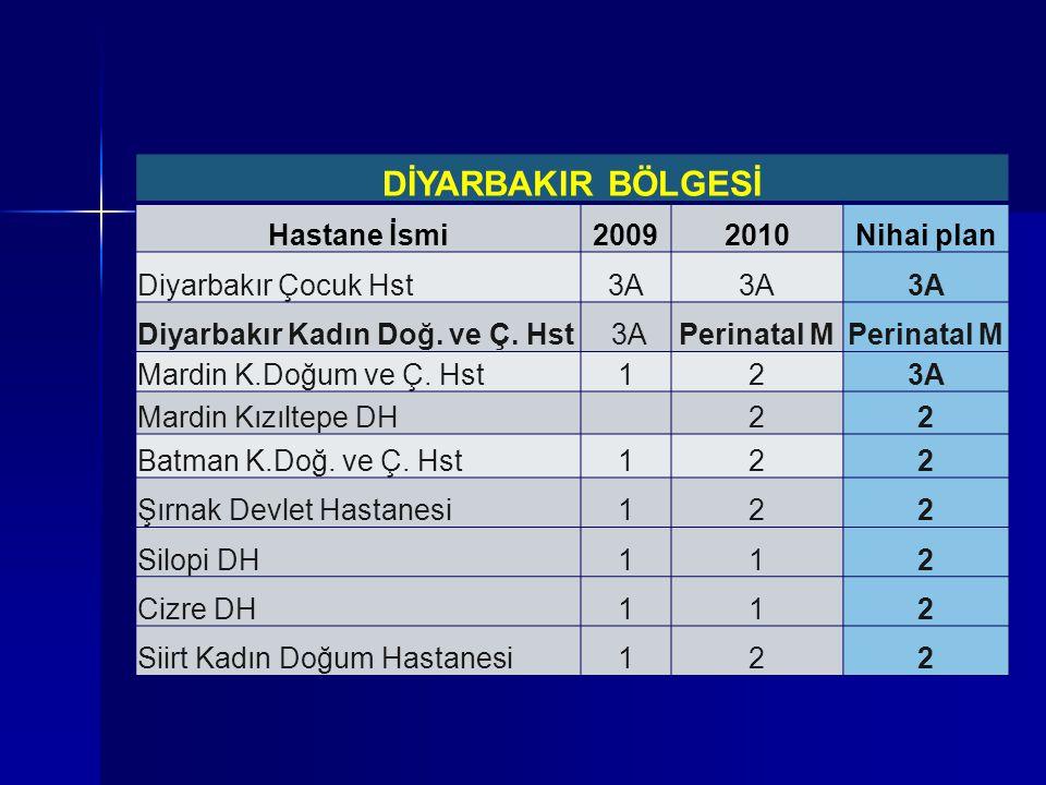 DİYARBAKIR BÖLGESİ Hastane İsmi20092010Nihai plan Diyarbakır Çocuk Hst3A Diyarbakır Kadın Doğ. ve Ç. Hst 3APerinatal M Mardin K.Doğum ve Ç. Hst123A Ma