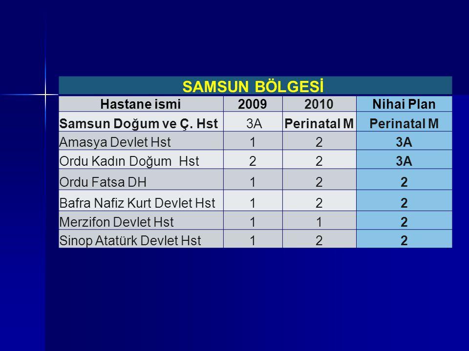 SAMSUN BÖLGESİ Hastane ismi20092010Nihai Plan Samsun Doğum ve Ç. Hst 3APerinatal M Amasya Devlet Hst123A Ordu Kadın Doğum Hst223A Ordu Fatsa DH122 Baf