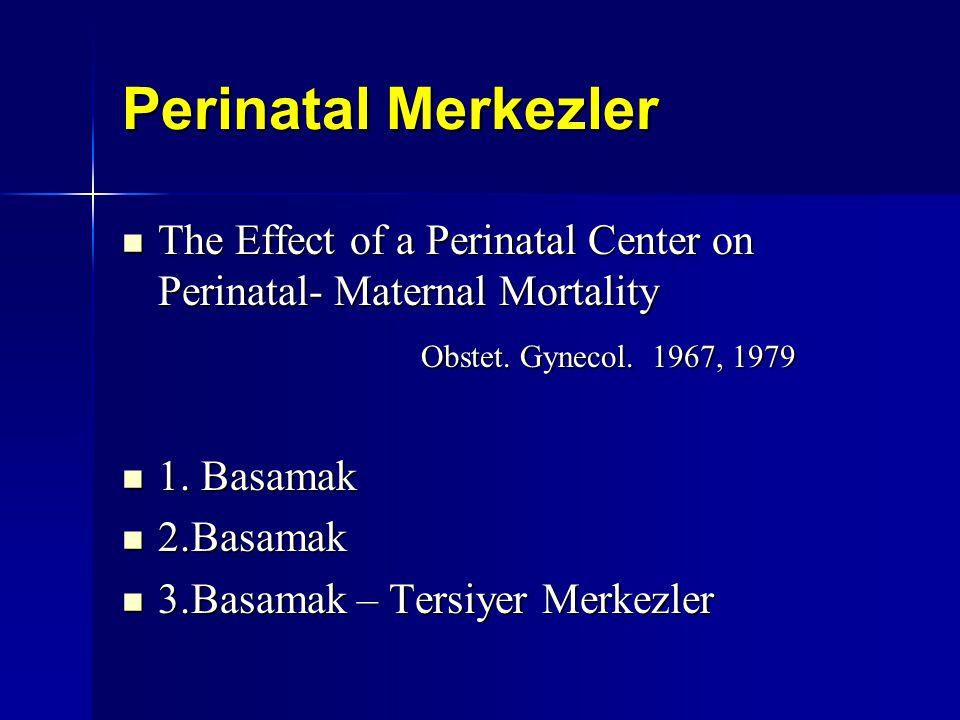 Perinatal Merkezler The Effect of a Perinatal Center on Perinatal- Maternal Mortality The Effect of a Perinatal Center on Perinatal- Maternal Mortalit