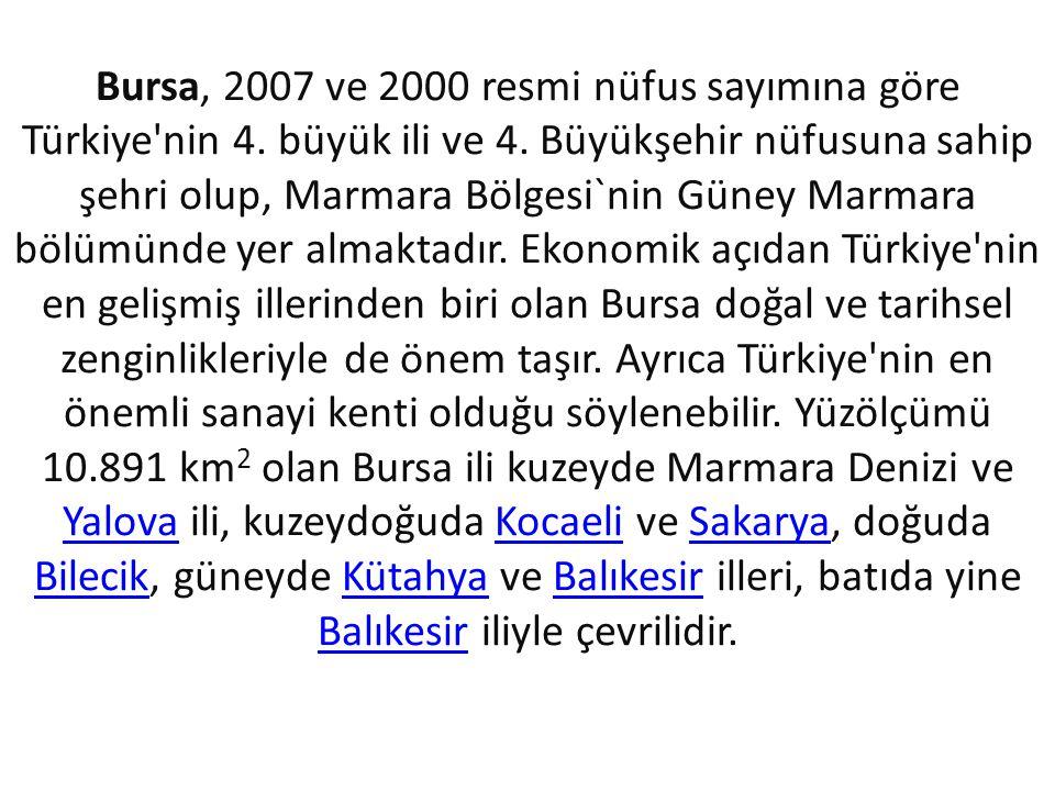 Bursa, 2007 ve 2000 resmi nüfus sayımına göre Türkiye nin 4.
