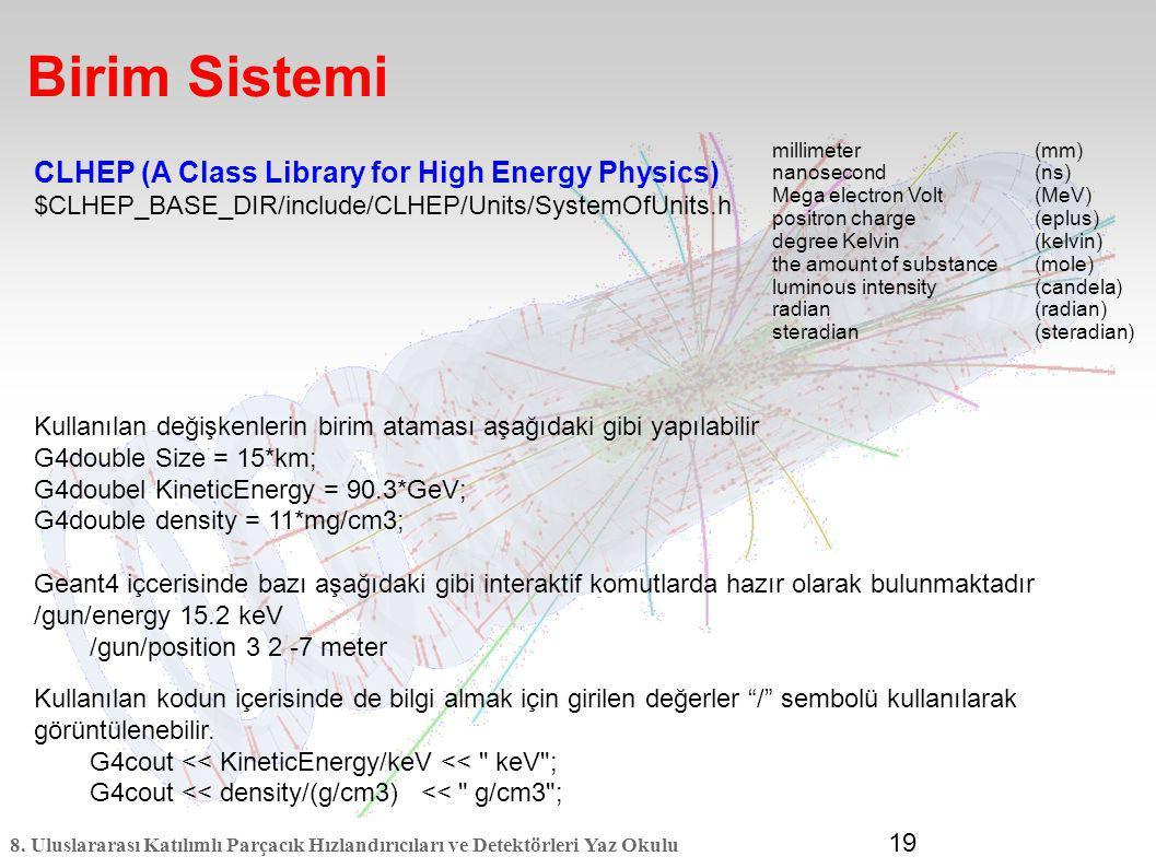 8. Uluslararası Katılımlı Parçacık Hızlandırıcıları ve Detektörleri Yaz Okulu 19 Birim Sistemi CLHEP (A Class Library for High Energy Physics) $CLHEP_