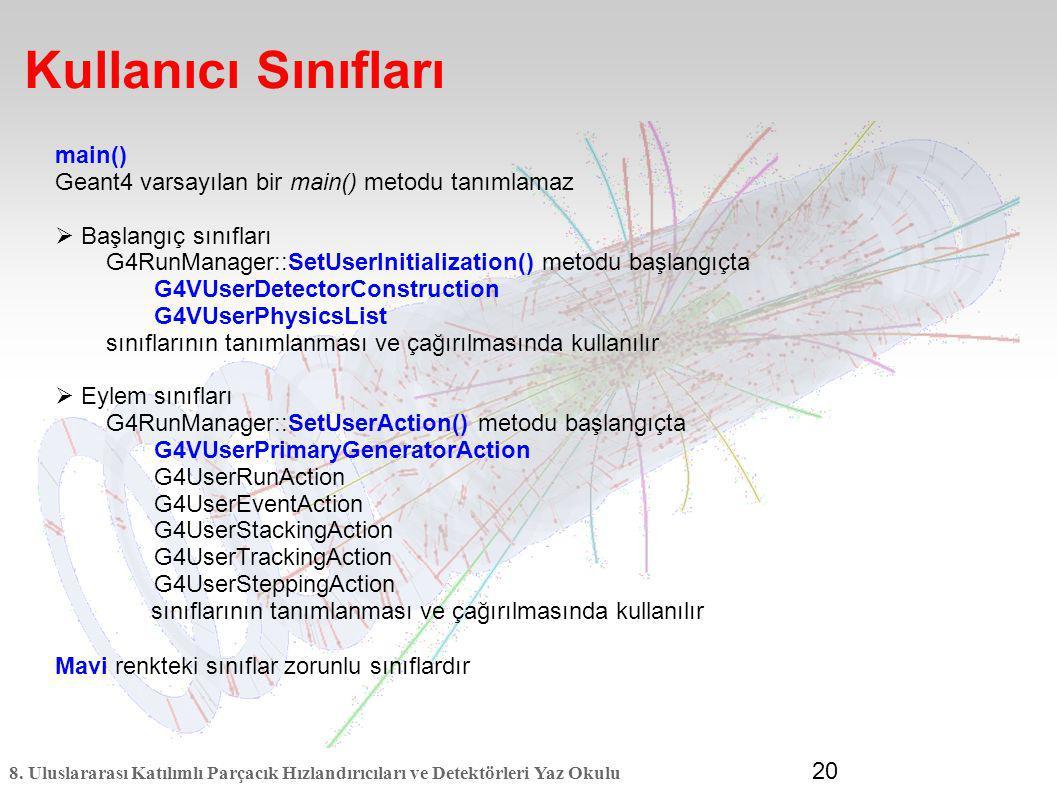 8. Uluslararası Katılımlı Parçacık Hızlandırıcıları ve Detektörleri Yaz Okulu 20 Kullanıcı Sınıfları main() Geant4 varsayılan bir main() metodu tanıml