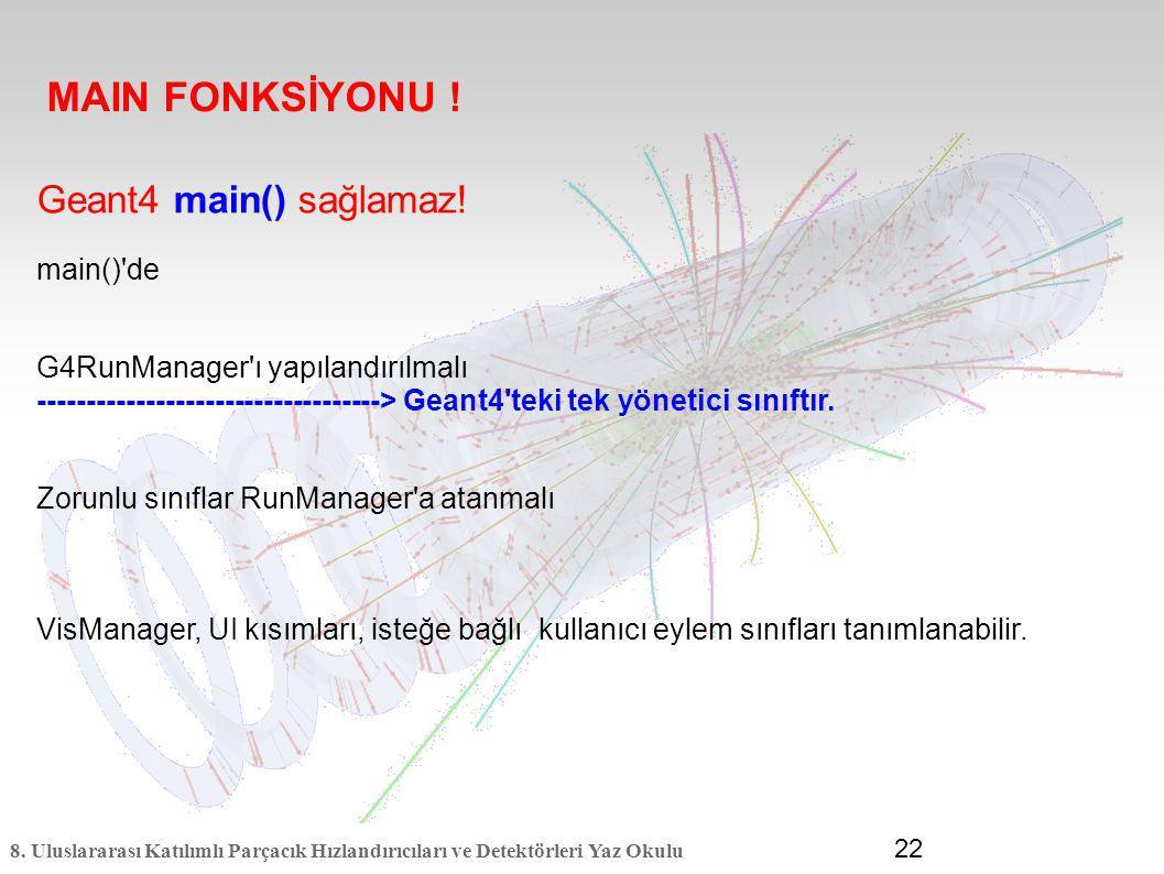 8. Uluslararası Katılımlı Parçacık Hızlandırıcıları ve Detektörleri Yaz Okulu 22 Geant4 main() sağlamaz! main()'de G4RunManager'ı yapılandırılmalı ---