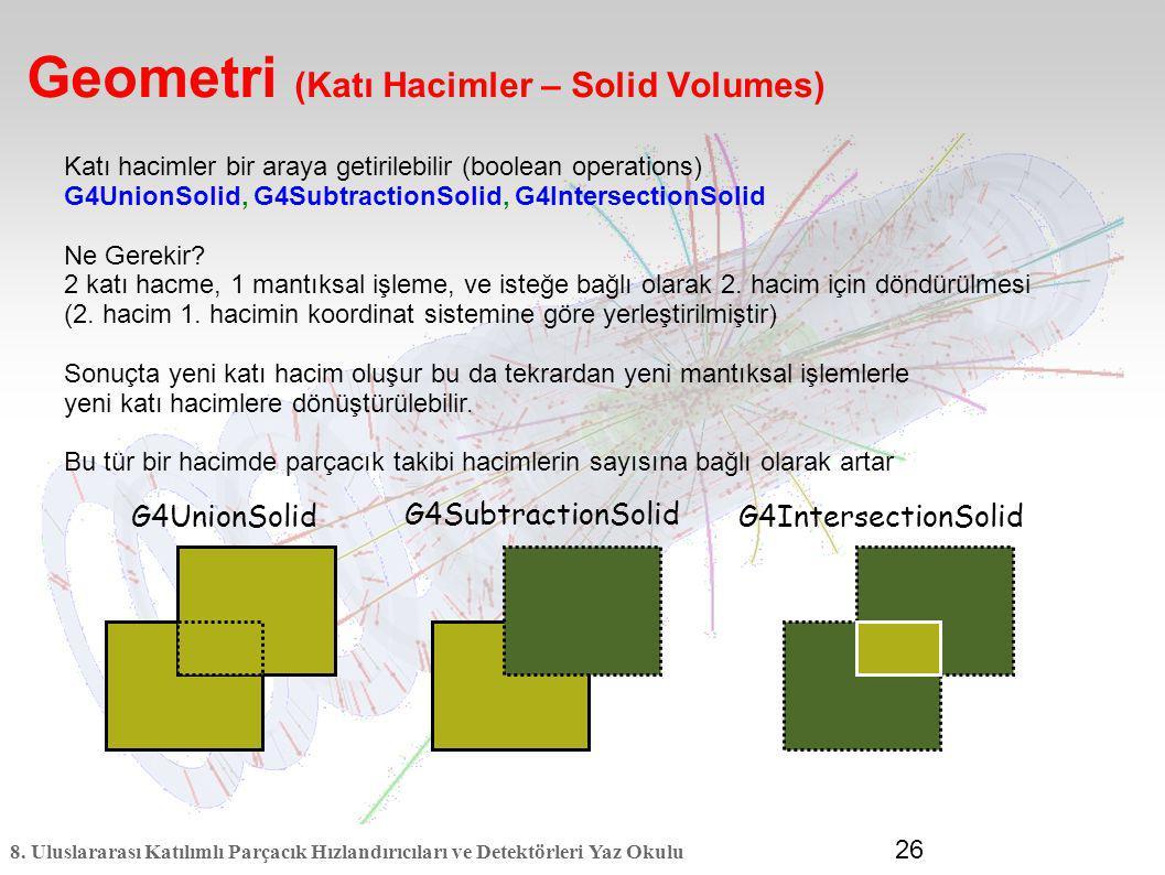 8. Uluslararası Katılımlı Parçacık Hızlandırıcıları ve Detektörleri Yaz Okulu 26 Geometri (Katı Hacimler – Solid Volumes) G4UnionSolidG4IntersectionSo