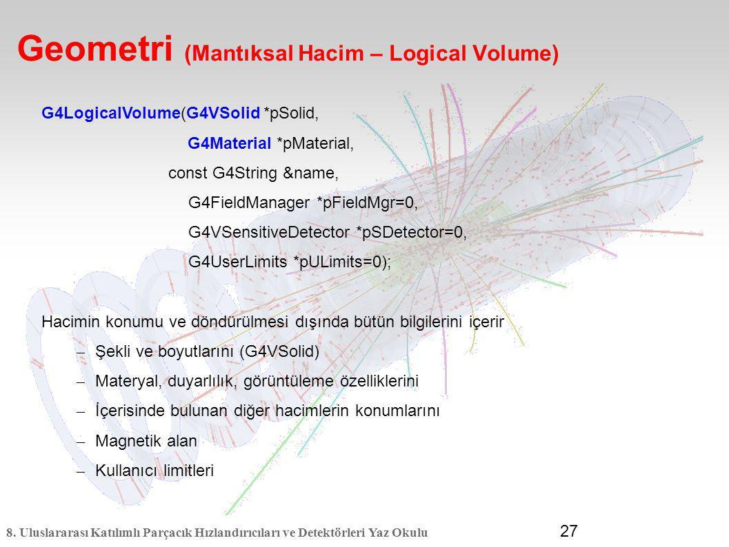 8. Uluslararası Katılımlı Parçacık Hızlandırıcıları ve Detektörleri Yaz Okulu 27 Geometri (Mantıksal Hacim – Logical Volume) G4LogicalVolume(G4VSolid