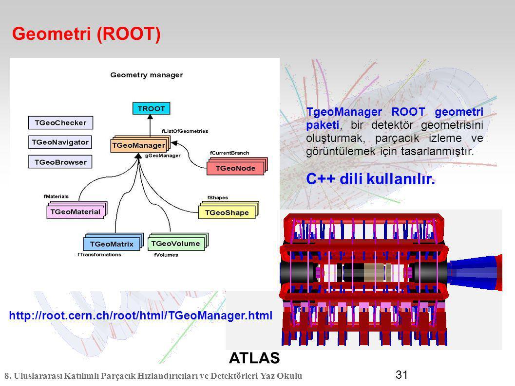 8. Uluslararası Katılımlı Parçacık Hızlandırıcıları ve Detektörleri Yaz Okulu 31 Geometri (ROOT) ATLAS TgeoManager ROOT geometri paketi, bir detektör