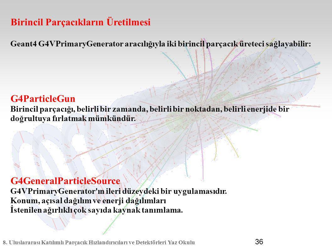 8. Uluslararası Katılımlı Parçacık Hızlandırıcıları ve Detektörleri Yaz Okulu 36 Birincil Parçacıkların Üretilmesi Geant4 G4VPrimaryGenerator aracılığ