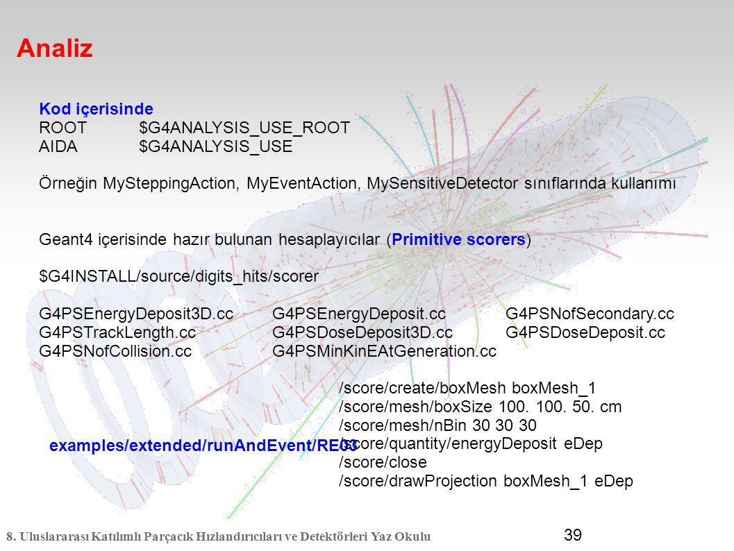 8. Uluslararası Katılımlı Parçacık Hızlandırıcıları ve Detektörleri Yaz Okulu 39 Analiz Kod içerisinde ROOT$G4ANALYSIS_USE_ROOT AIDA$G4ANALYSIS_USE Ör