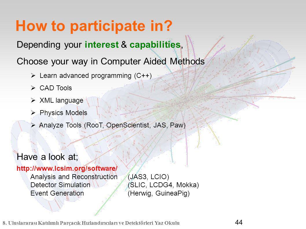 8. Uluslararası Katılımlı Parçacık Hızlandırıcıları ve Detektörleri Yaz Okulu 44 How to participate in? Depending your interest & capabilities, Choose