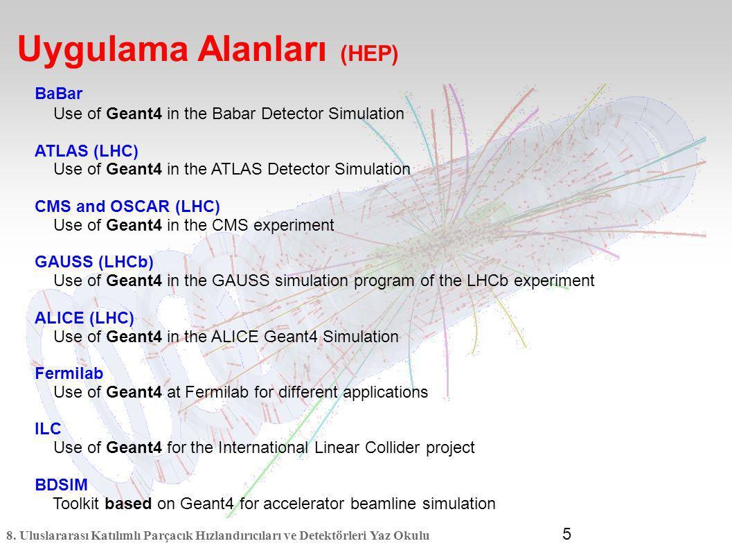8. Uluslararası Katılımlı Parçacık Hızlandırıcıları ve Detektörleri Yaz Okulu 5 BaBar Use of Geant4 in the Babar Detector Simulation ATLAS (LHC) Use o