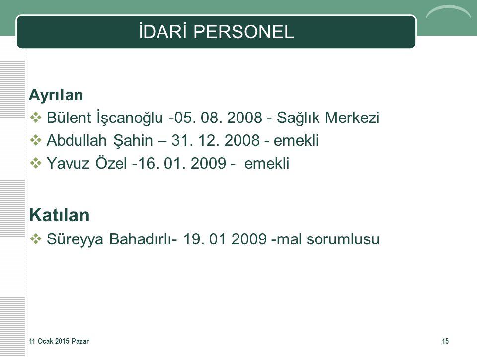 İDARİ PERSONEL Ayrılan  Bülent İşcanoğlu -05. 08. 2008 - Sağlık Merkezi  Abdullah Şahin – 31. 12. 2008 - emekli  Yavuz Özel -16. 01. 2009 - emekli