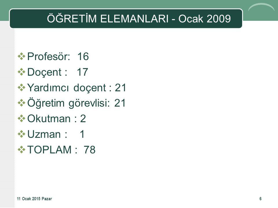 ÖĞRETİM ELEMANLARI - Ocak 2009  Profesör: 16  Doçent : 17  Yardımcı doçent : 21  Öğretim görevlisi: 21  Okutman : 2  Uzman : 1  TOPLAM : 78 611