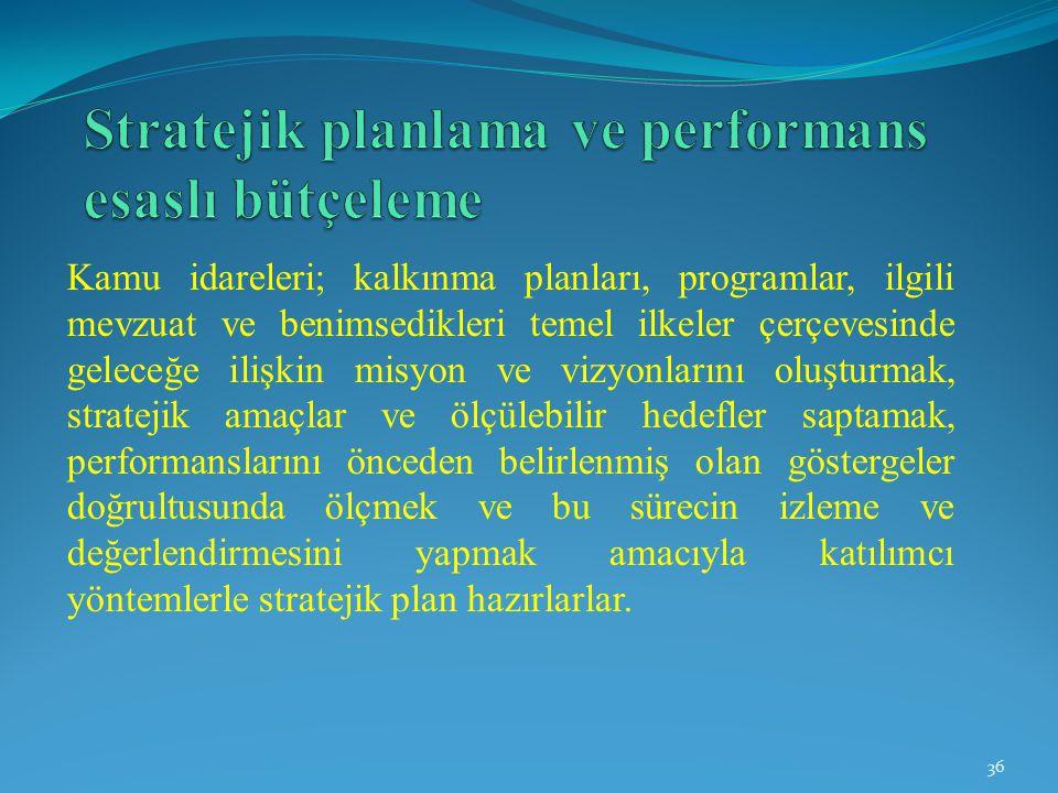 Kamu idareleri; kalkınma planları, programlar, ilgili mevzuat ve benimsedikleri temel ilkeler çerçevesinde geleceğe ilişkin misyon ve vizyonlarını olu