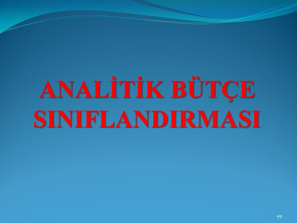 ANALİTİK BÜTÇE SINIFLANDIRMASI 49