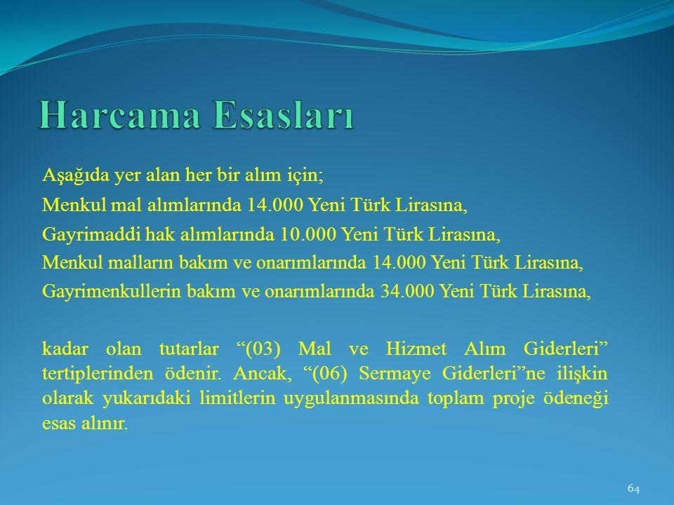 Aşağıda yer alan her bir alım için; Menkul mal alımlarında 14.000 Yeni Türk Lirasına, Gayrimaddi hak alımlarında 10.000 Yeni Türk Lirasına, Menkul mal