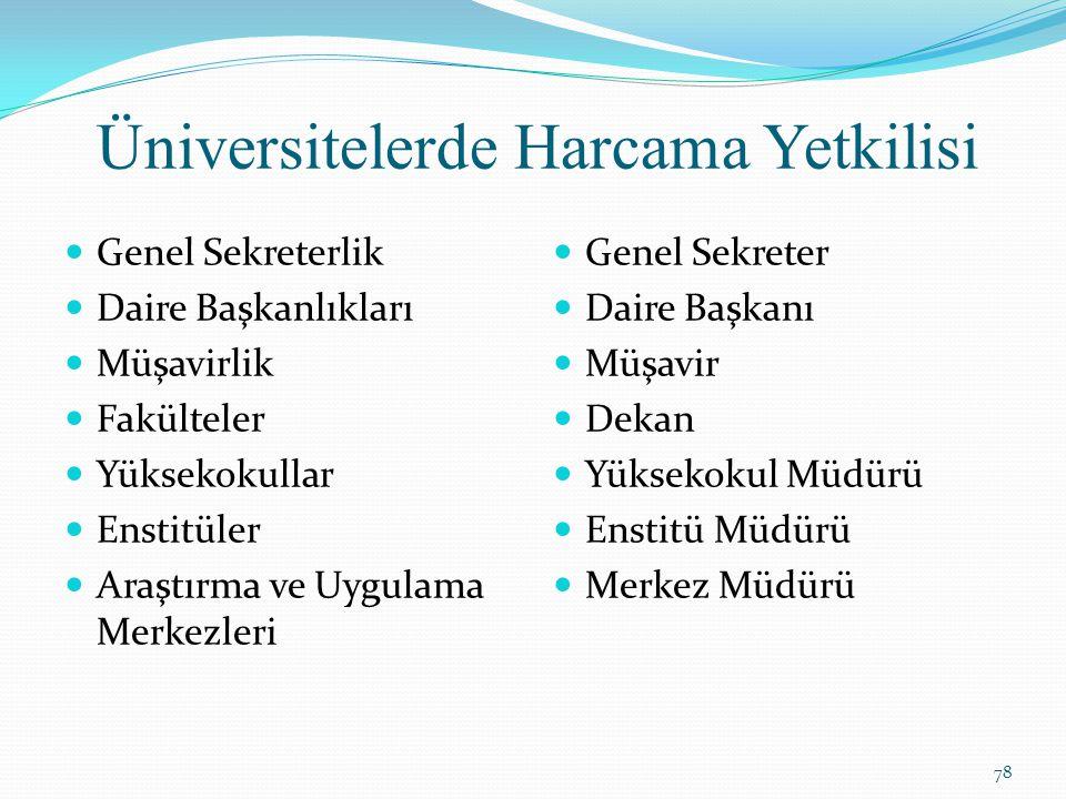 Üniversitelerde Harcama Yetkilisi Genel Sekreterlik Daire Başkanlıkları Müşavirlik Fakülteler Yüksekokullar Enstitüler Araştırma ve Uygulama Merkezler