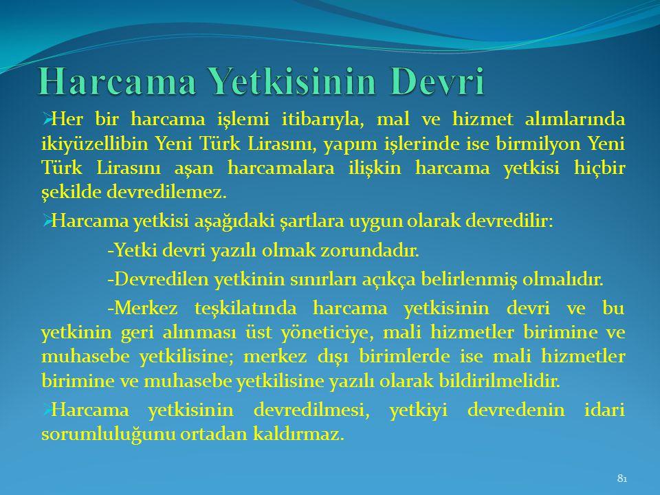  Her bir harcama işlemi itibarıyla, mal ve hizmet alımlarında ikiyüzellibin Yeni Türk Lirasını, yapım işlerinde ise birmilyon Yeni Türk Lirasını aşan