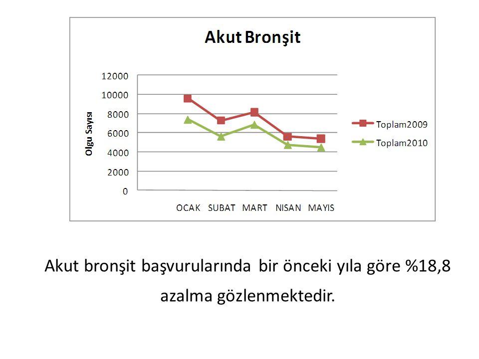 Akut bronşit başvurularında bir önceki yıla göre %18,8 azalma gözlenmektedir.