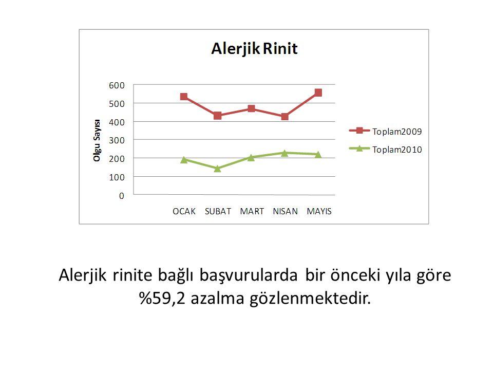 Alerjik rinite bağlı başvurularda bir önceki yıla göre %59,2 azalma gözlenmektedir.