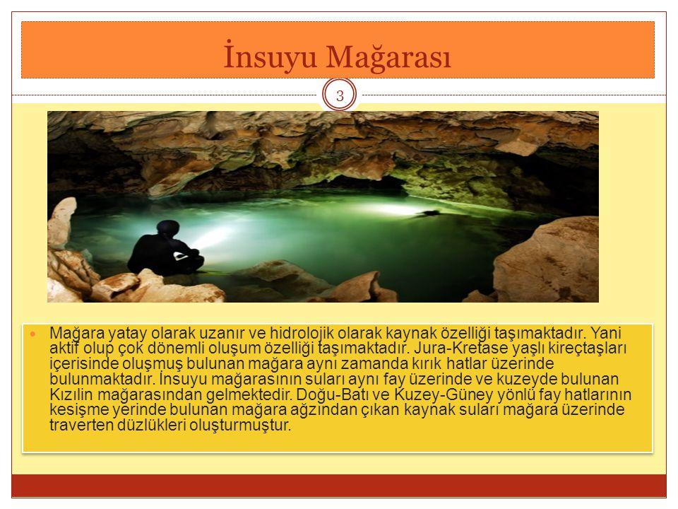 İnsuyu Mağarası Mağara yatay olarak uzanır ve hidrolojik olarak kaynak özelliği taşımaktadır.