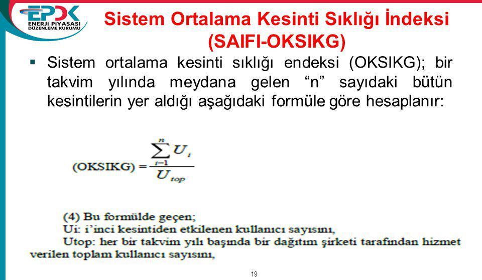 """Sistem Ortalama Kesinti Sıklığı İndeksi (SAIFI-OKSIKG)  Sistem ortalama kesinti sıklığı endeksi (OKSIKG); bir takvim yılında meydana gelen """"n"""" sayıda"""