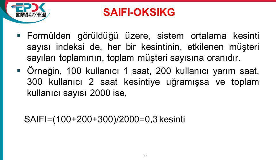 SAIFI-OKSIKG  Formülden görüldüğü üzere, sistem ortalama kesinti sayısı indeksi de, her bir kesintinin, etkilenen müşteri sayıları toplamının, toplam müşteri sayısına oranıdır.