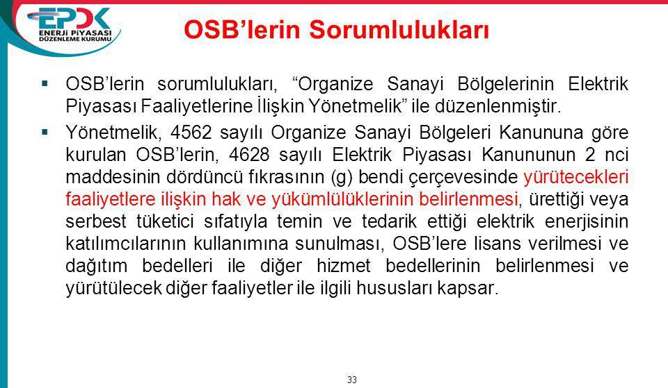 OSB'lerin Sorumlulukları  OSB'lerin sorumlulukları, Organize Sanayi Bölgelerinin Elektrik Piyasası Faaliyetlerine İlişkin Yönetmelik ile düzenlenmiştir.