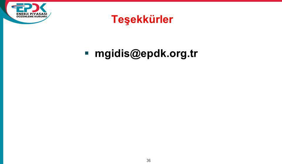 Teşekkürler  mgidis@epdk.org.tr 15/11/2011 36