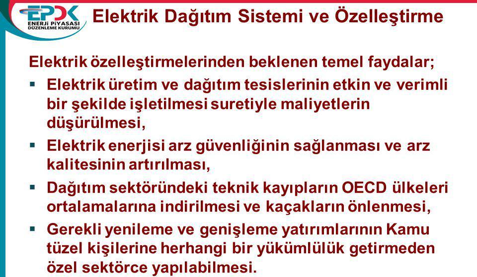 Elektrik Dağıtım Sistemi ve Özelleştirme Elektrik özelleştirmelerinden beklenen temel faydalar;  Elektrik üretim ve dağıtım tesislerinin etkin ve verimli bir şekilde işletilmesi suretiyle maliyetlerin düşürülmesi,  Elektrik enerjisi arz güvenliğinin sağlanması ve arz kalitesinin artırılması,  Dağıtım sektöründeki teknik kayıpların OECD ülkeleri ortalamalarına indirilmesi ve kaçakların önlenmesi,  Gerekli yenileme ve genişleme yatırımlarının Kamu tüzel kişilerine herhangi bir yükümlülük getirmeden özel sektörce yapılabilmesi.
