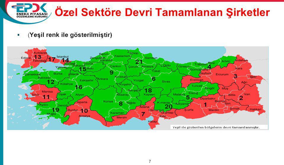 Özel Sektöre Devri Tamamlanan Şirketler  ( Yeşil renk ile gösterilmiştir) 15/11/2011 7