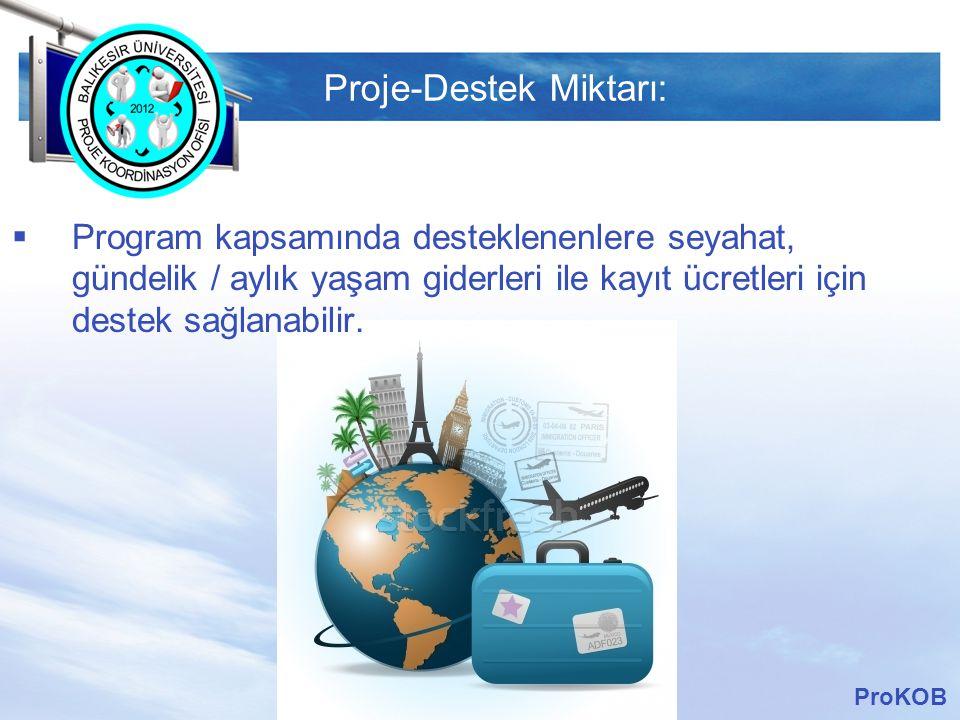 LOGO Proje-Destek Miktarı:  Program kapsamında desteklenenlere seyahat, gündelik / aylık yaşam giderleri ile kayıt ücretleri için destek sağlanabilir