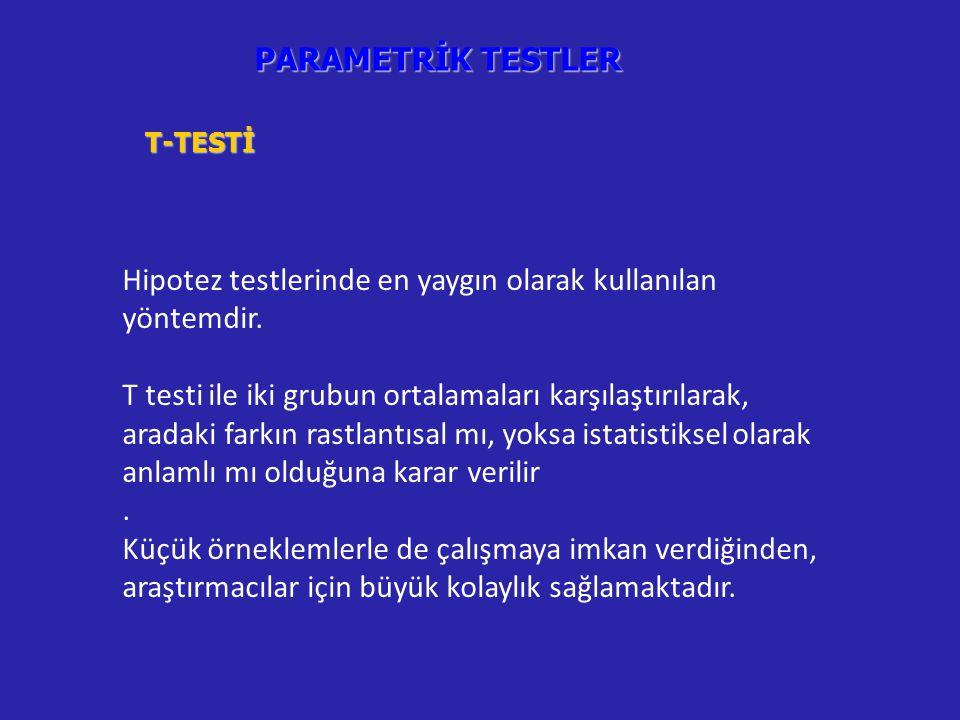 PARAMETRİK TESTLER T-TESTİ Hipotez testlerinde en yaygın olarak kullanılan yöntemdir.