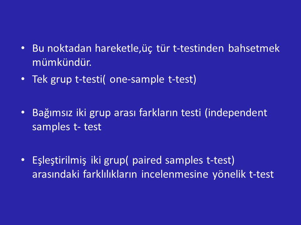 Bu noktadan hareketle,üç tür t-testinden bahsetmek mümkündür.