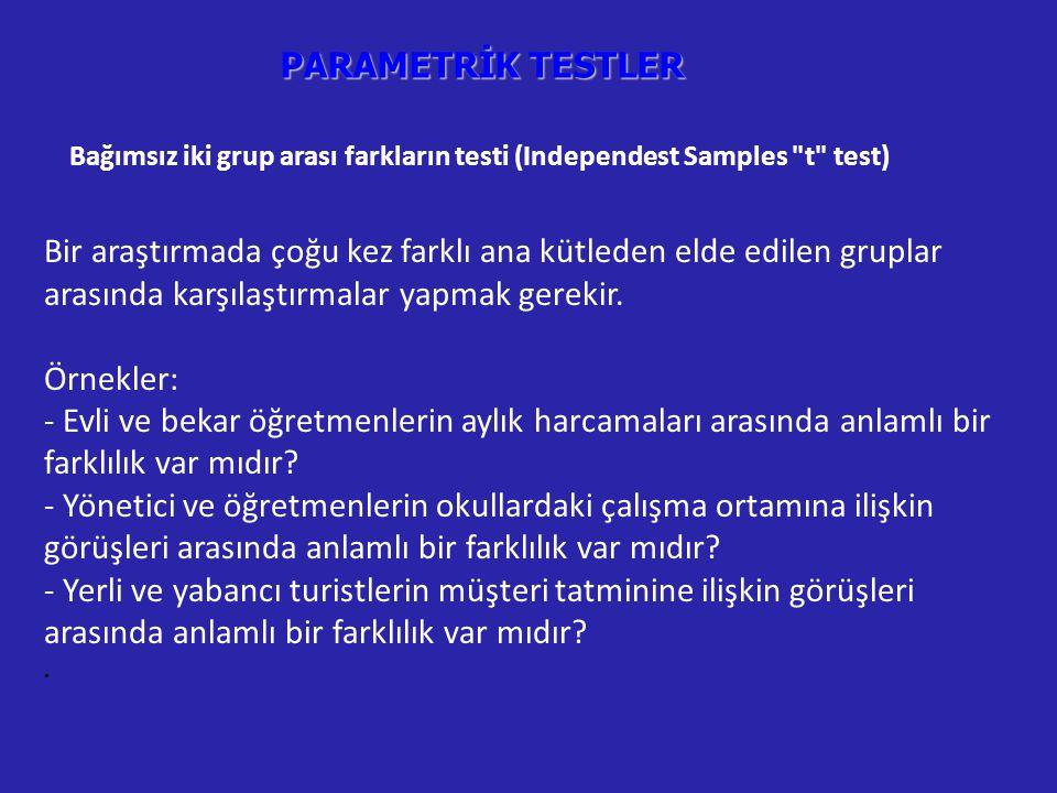 PARAMETRİK TESTLER Bağımsız iki grup arası farkların testi (Independest Samples t test) Bir araştırmada çoğu kez farklı ana kütleden elde edilen gruplar arasında karşılaştırmalar yapmak gerekir.