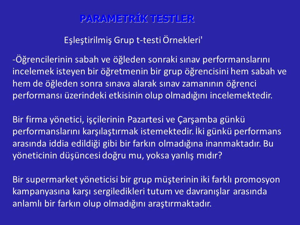 PARAMETRİK TESTLER Eşleştirilmiş Grup t-testi Örnekleri -Öğrencilerinin sabah ve öğleden sonraki sınav performanslarını incelemek isteyen bir öğretmenin bir grup öğrencisini hem sabah ve hem de öğleden sonra sınava alarak sınav zamanının öğrenci performansı üzerindeki etkisinin olup olmadığını incelemektedir.