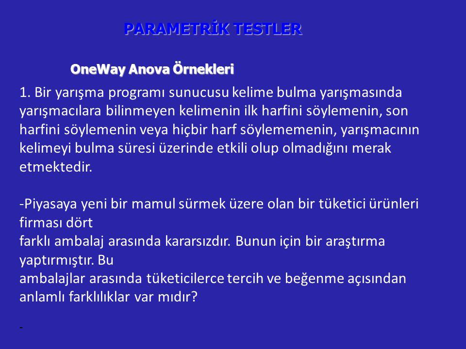 PARAMETRİK TESTLER OneWay Anova Örnekleri 1.