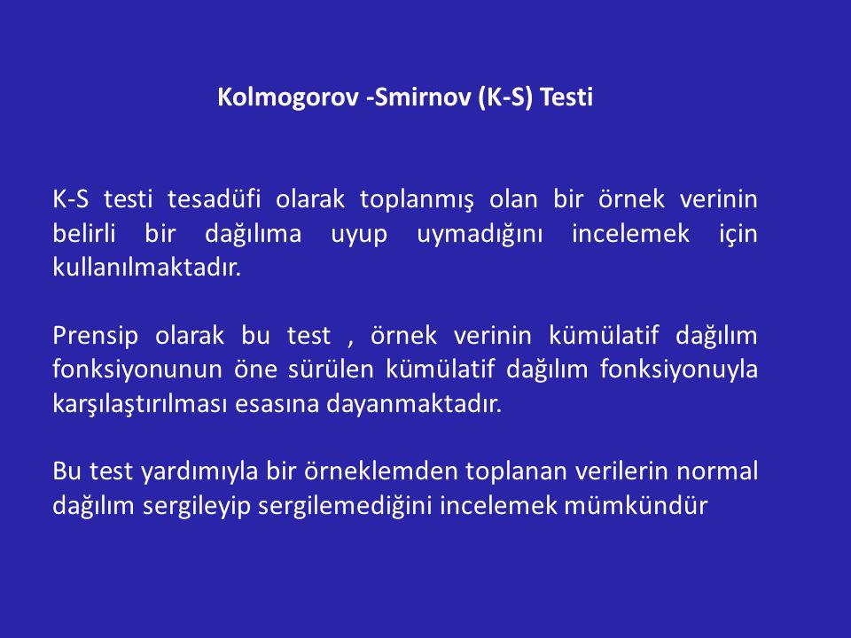 Kolmogorov -Smirnov (K-S) Testi K-S testi tesadüfi olarak toplanmış olan bir örnek verinin belirli bir dağılıma uyup uymadığını incelemek için kullanılmaktadır.