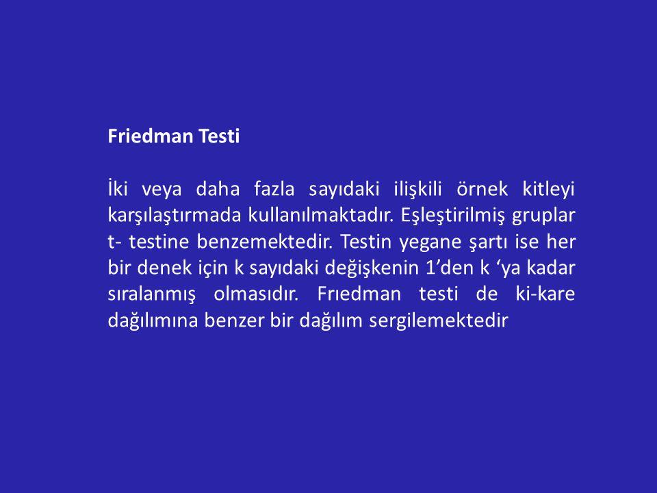 Friedman Testi İki veya daha fazla sayıdaki ilişkili örnek kitleyi karşılaştırmada kullanılmaktadır.