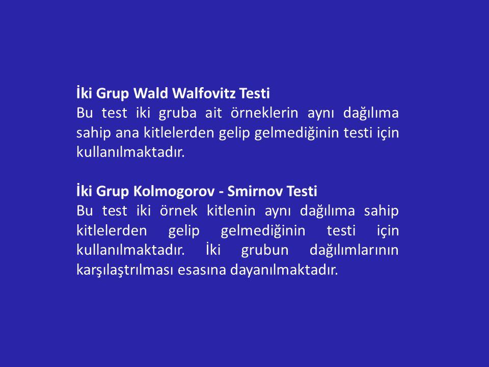 İki Grup Wald Walfovitz Testi Bu test iki gruba ait örneklerin aynı dağılıma sahip ana kitlelerden gelip gelmediğinin testi için kullanılmaktadır.