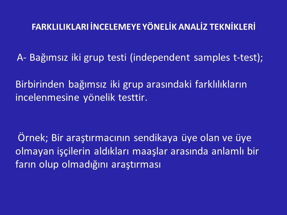 A- Bağımsız iki grup testi (independent samples t-test); Birbirinden bağımsız iki grup arasındaki farklılıkların incelenmesine yönelik testtir.