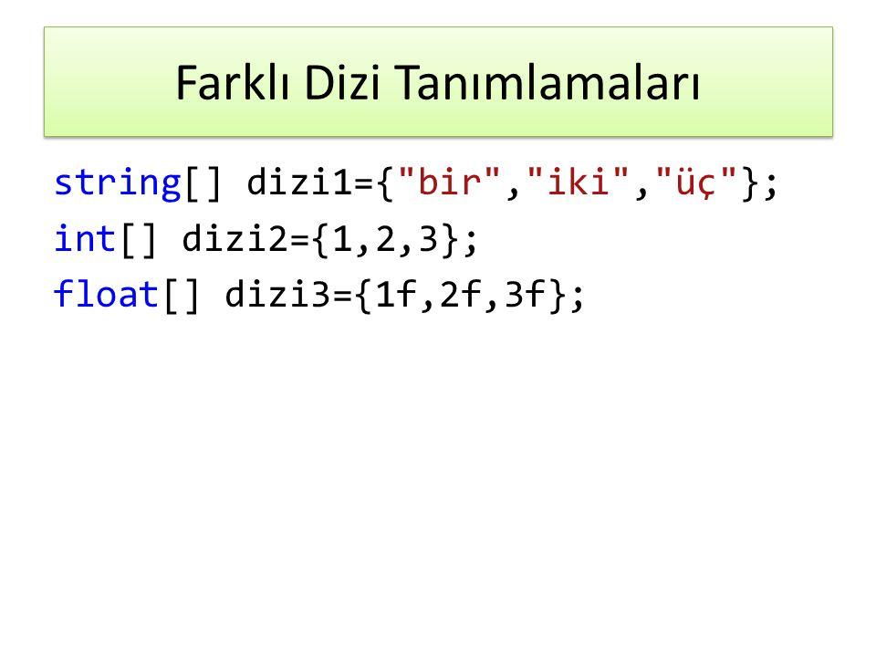 Farklı Dizi Tanımlamaları string[] dizi1={ bir , iki , üç }; int[] dizi2={1,2,3}; float[] dizi3={1f,2f,3f};