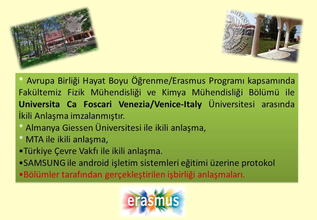 * Avrupa Birliği Hayat Boyu Öğrenme/Erasmus Programı kapsamında Fakültemiz Fizik Mühendisliği ve Kimya Mühendisliği Bölümü ile Universita Ca Foscari V